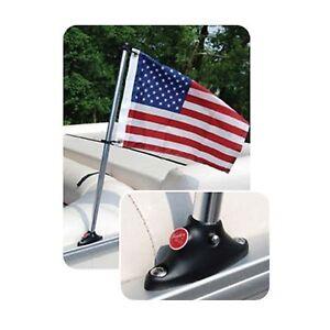 Pontoon Flag Pole Socket with Flag