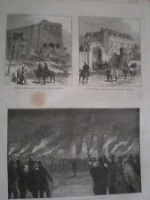 Torchlight procession to tomb of Thorwaldsen Copenhagen Denmark 1870 print