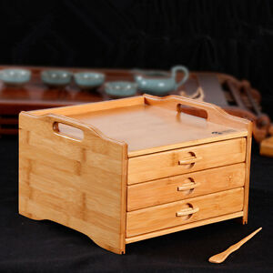 Image Is Loading Bamboo Puer Tea Storage Box 3 Drawers Handmade