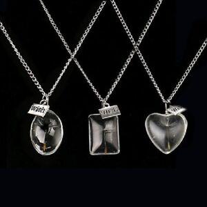 Löwenzahn Wunsch Glück Halskette Pusteblume Anhänger Silber Glas kugel Schmuck