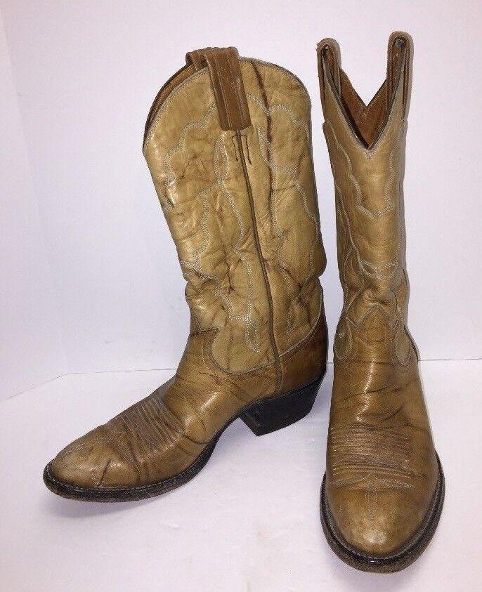 Tony Lama Womens Sz 6 Black Label Tan Marbled LEATHER Cowboy Western BOOTS