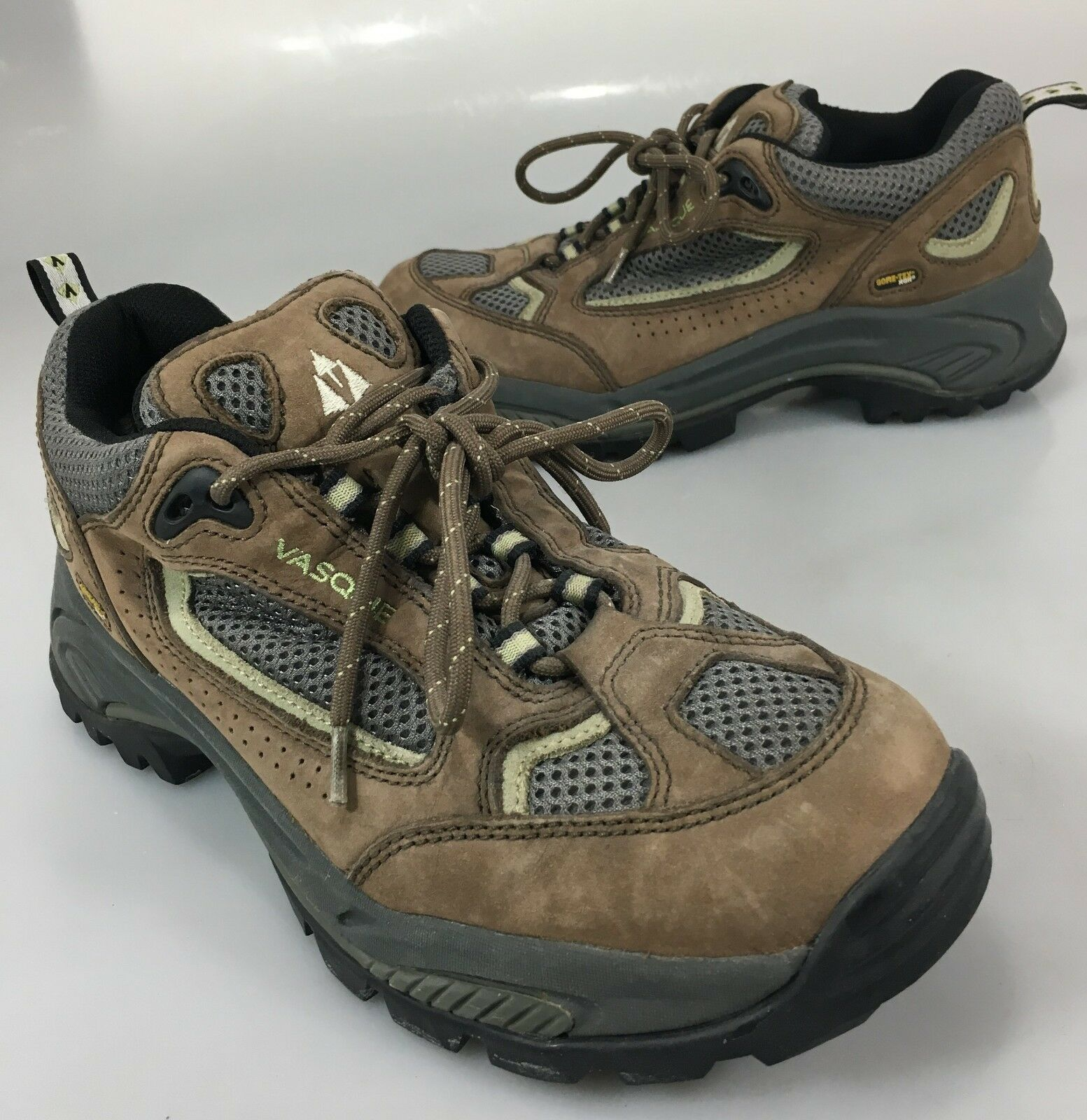 Vasque Womens 9 M Mantra Brown Gray Gore-Tex Hiking Trail Shoes Vibram Soles