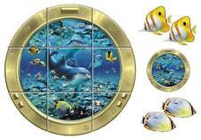 12 Tile Stickers Dolphin Decals Fish Ocean Window Bath Bathroom Decor Mural Wall