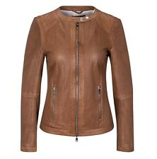 Oui Openwork Leather Jacket, Toffee Tan, size10. £331.00
