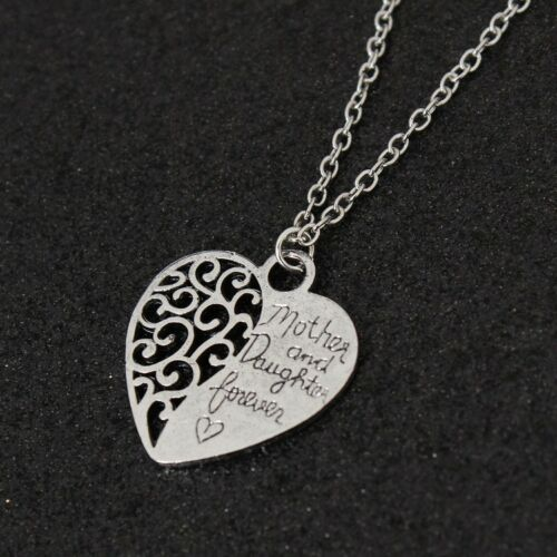 """Gift """"Mother and Daughter Forever"""" Heart Shaped Chain//Necklace /& Pendant Set"""