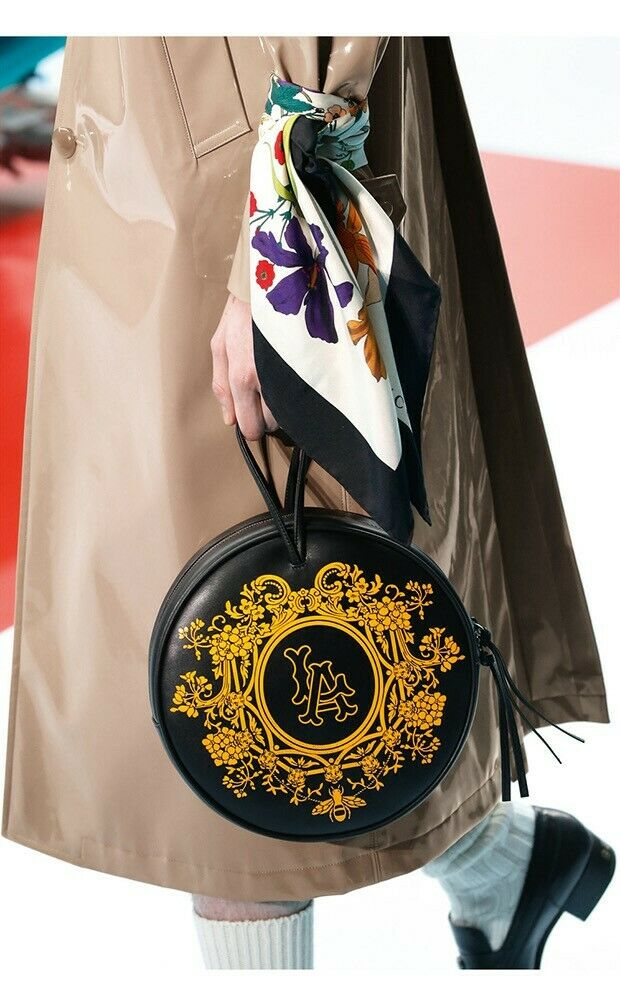 Gucci Unisex LA Angels Round Black Gold Floral Leather Bag Backpack 543324 1061  | eBay