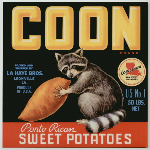 **AN ORIGINAL LABEL** Raccoon COON Vintage Leonville Louisiana Yam Crate Label