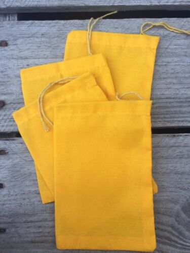 Art Craft Bags 50 //100 5x7 inches YELLOW Cloth Muslin Drawstring Bags Qty 25