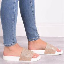 8d8de678540 item 1 Ladies Womens Sliders Flat Diamante Sparkle Sandal Slip On Summer  Beach Shoes -Ladies Womens Sliders Flat Diamante Sparkle Sandal Slip On  Summer ...