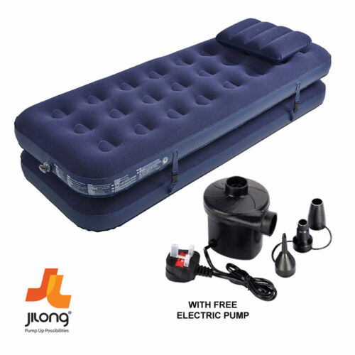 3 IN 1 INFLATABLE FLOCKED AIR BED CAMPING MATTRESS BED FREE ELECTRIC AIR PUMP