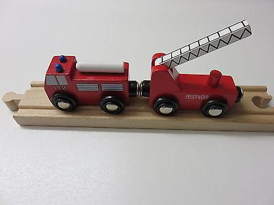 Kraftvoll Feuerwehr-zug Mit Anhänger Für Holzeisenbahn Passend Zu Brio, Eichhorn Usw.