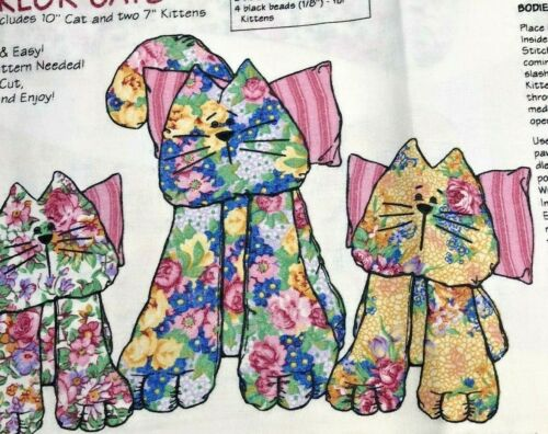 Cut and Sew Parlor Cats Fabric Panel with Pattern Daisy Kingdom Floral Kittens