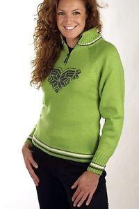 Dale-Of-Norway-Dale-Sport-Sweater-1-4-Zip-Lime-Kiwi-Green-100-Wool-Women-039-s-XS