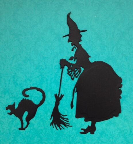 Large Witch and Cat Die-Cuts black Tim Holtz