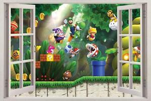Image Is Loading Super Mario Bros Scene 3D Window View Decal