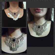 Vintage Statement Chunky Fashion Necklace in Silver Plated and Black Stone