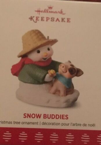 SNOW BUDDIES SNOWMAN AND PIG 2017 HALLMARK ORNAMENT FREE SHIPPING