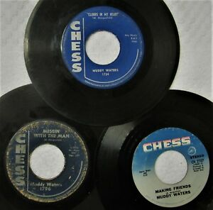 CHICAGO-BLUES-45s-MUDDY-WATERS-lot-1-CHESS-Messin-Clouds-in-Heart-Two-Steps