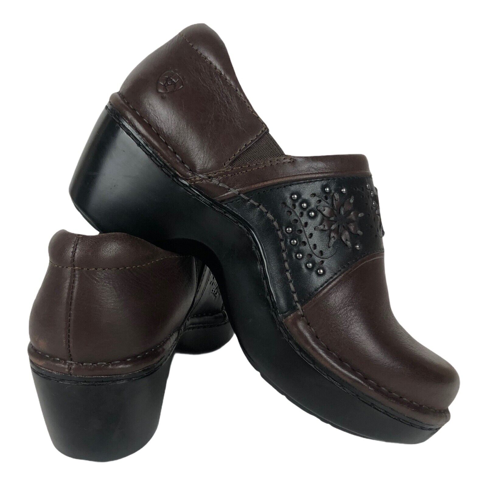 Ariat Black Leather Cutout Studded Tambour Comfort Slip On Clogs Mules Sz 5.5 B