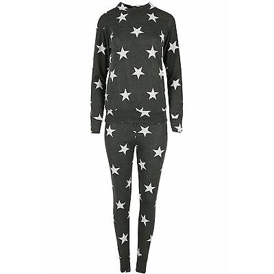 Ladies Womens Marl Stars Bottoms Knitted Loungewear Jogsuit Sweatshirt Tracksuit
