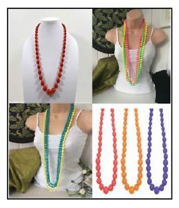 Beaded Bracelets /& Necklaces Neon Beads Ladies Fancy Dress Costume Accessories