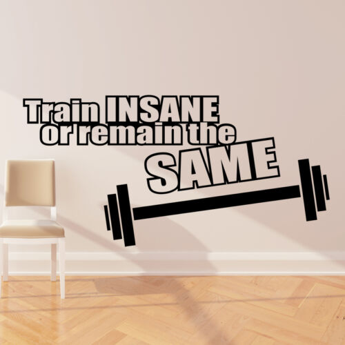 Train Insane ou restent les mêmes wall sticker decal quote Gym Fitness w133