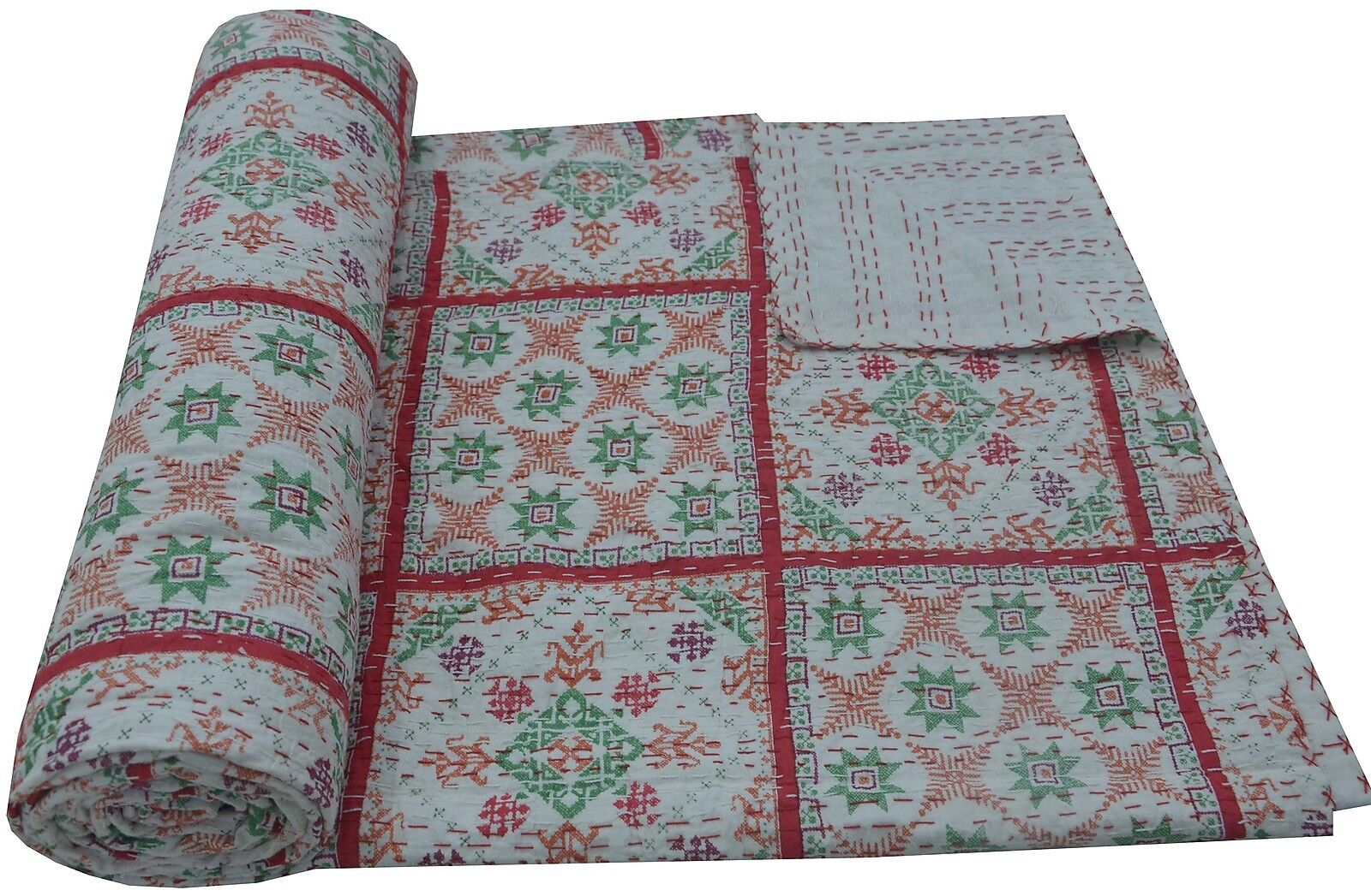Cotton Kantha Bed Cover Indian Bedspread Throw Queen Größe Quilt Reversible Ralli