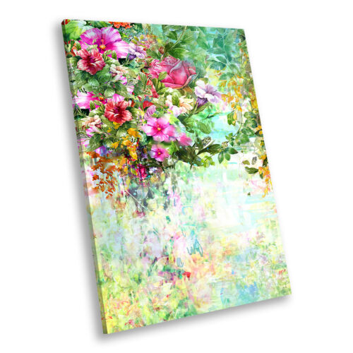 Pink Orange Flower Portrait Abstract Canvas Wall Art Large Picture Prints