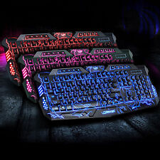 M200 3 Backlits LED Colors USB Wired Gaming Keyboard Cracked Red Blue Purple