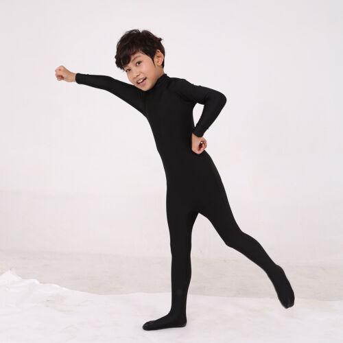 Unisex Kids High Neck Long Sleeve One Piece Unitard Full Bodysuit Dancewear