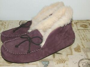 17caa1ab15d Details about NEW NWOB WOMENS SIZE 7 PORT UGG ALENA SHEEPSKIN SUEDE  SLIPPERS CUFF MOCCASINS
