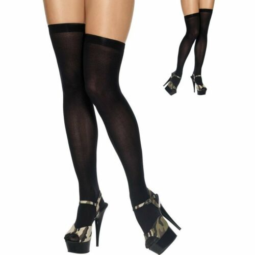 Plain Black Thigh High Hold Up Stockings 100/% Nylon Party Evening New