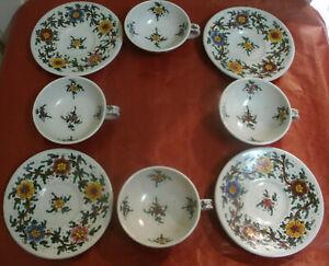 Antico-SET-SERVITO-Rare-Ceramica-C-A-M-GUBBIO-Quattro-TAZZE-con-PIATTINO-D-Fiori