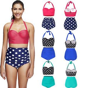 e48d0aa3140 Plus Size Rockabilly Polka Dot Bikini Hot High Waisted Swimsuit ...