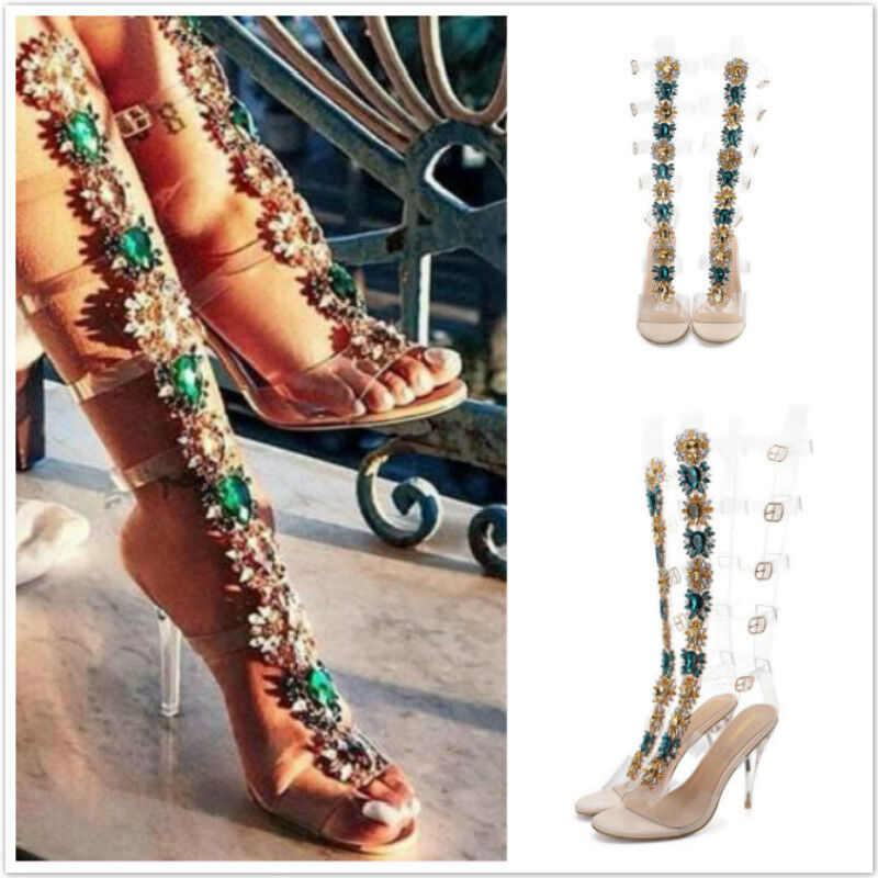 Gladiator Sandals Womens Knee High Heels Sandals Gladiator Rhinestones Ladies Open Toe Party Shoes fbc564