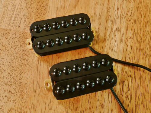 HUMBUCKER PICKUP SET BLACK INVADER STYLE FOUR CONDUCTOR WIRE