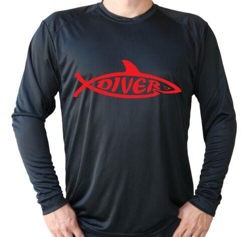 Diver Diving Shark Logo Long Sleeve UPF 30 T-Shirt Fishing Boat UV Protection