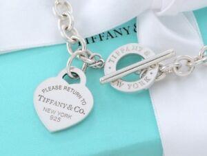 Please-Return-To-Tiffany-amp-Co-Corazon-Plata-Tag-Toggle-Collar-Nuevo-Version-16CM