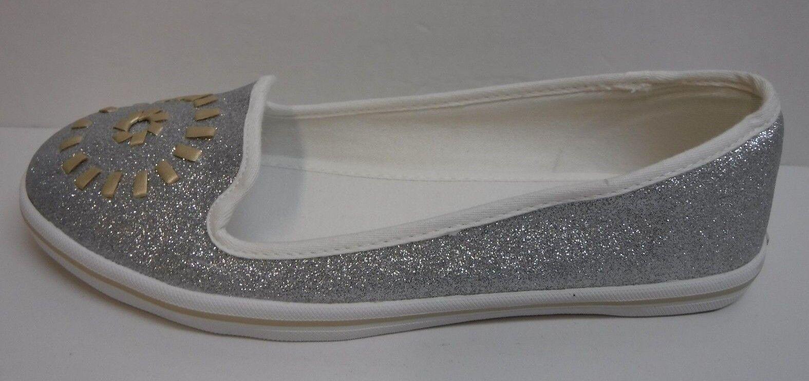 Jack Rogers Größe 8.5 Silver Glitter  Loafers Flats NEU Damenschuhe Schuhes