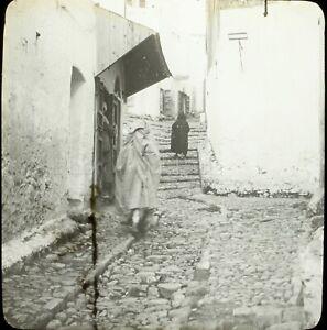 MAROC-Tanger-une-Rue-Maghreb-1904-Photo-Stereo-Grande-Plaque-Verre-VR9L5n9