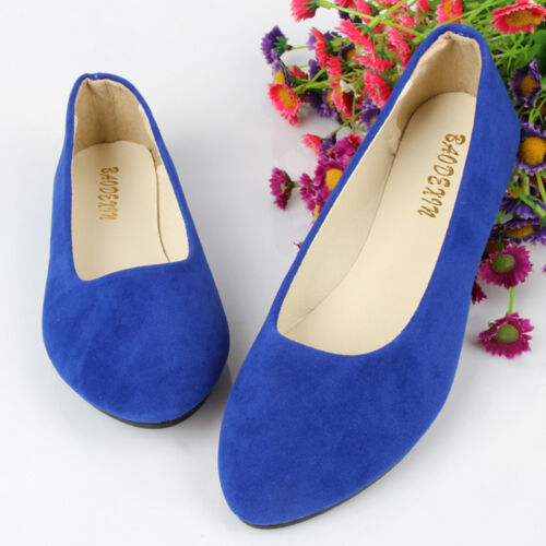Womens Flat Pumps Lady Glitter Ballet Ballerina Dolly Bridal Casual Shoes Size