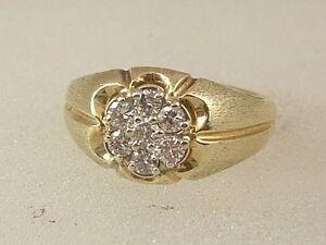 78786a8894cdf 14K MEN'S CLUSTER DIAMOND RING 14 KARAT YELLOW WHITE GOLD 0.42 CARAT ...