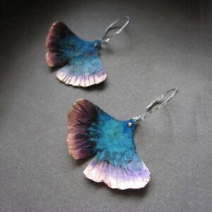 Ginkgo-Bilbao-925-Silver-Fan-Shaped-Ear-Hook-Dangle-Drop-Two-tone-Earrings-Gift