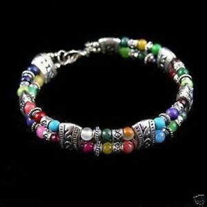 Tibet-silver-multicolor-jade-turquoise-bead-bracelet