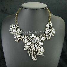 NEW 2015 GORGEOUS  BRASS BOW CLEAR CRYSTAL STATEMENT CHAIN Necklace