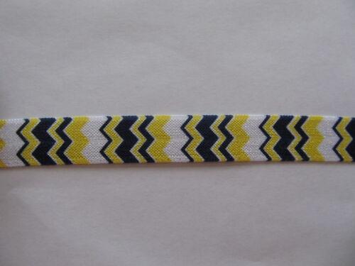 "Grosgrain Elasticated Yellow Navy Chevron Wave Ribbon 5//8/"" Inch"
