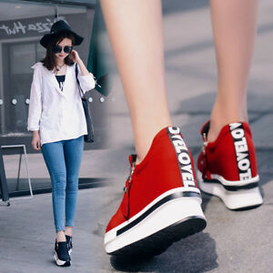 Womens-Ankle-Boots-Trainers-Hidden-Wedge-Heel-Casual-Zip-Sneakers-Shoes-All-Size