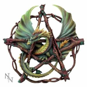 Anne-Stokes-wall-plaque-of-Forest-Pentagram-Dragon