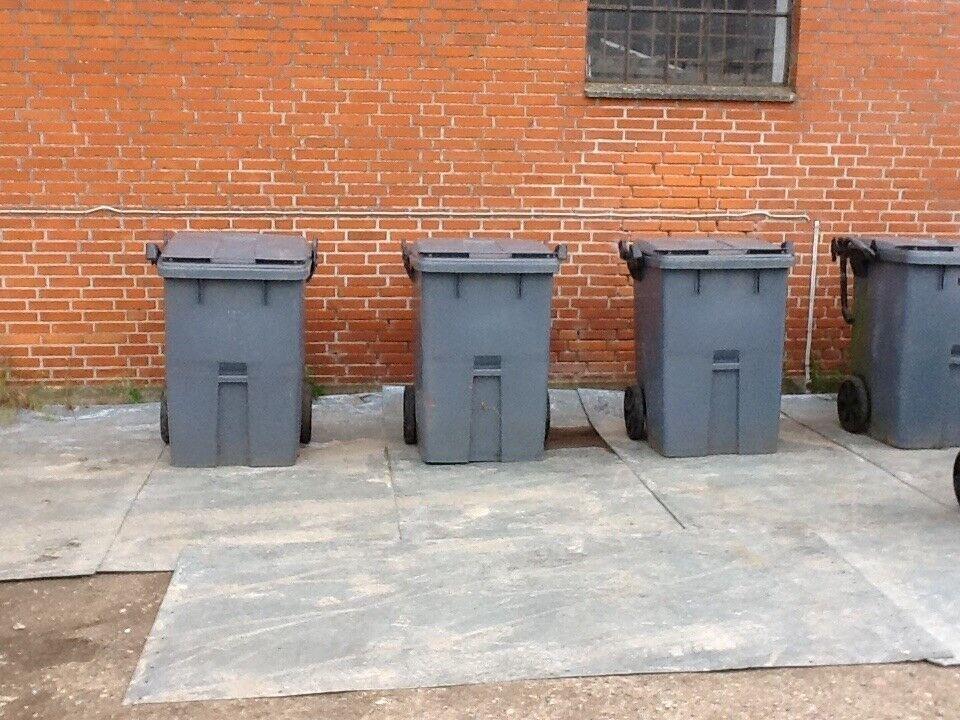 Affaldscontainer 400 ltr grå m/ låg - pris/stk