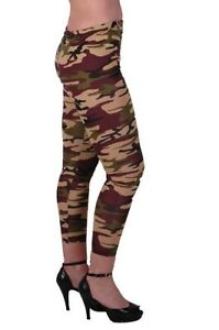 Womens Camouflage Casual Skinny Fit Stretch Cropped Capri Ladies Leggings